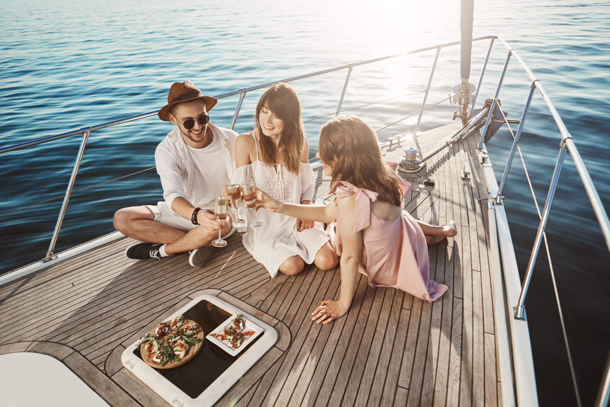 Having lunch on board of yacht